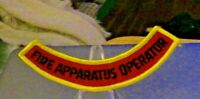"""4 1/2"""" Black Letters/Red Background Rocker Patch: """"Fire Apparatus Operator"""""""