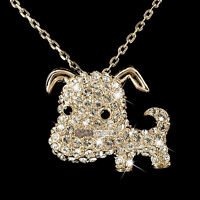 18k rose gold gp made with SWAROVSKI crystal cute dog puppy pendant necklace