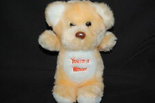 "You're A Winner Peach White Teddy Bear Vtg 1985 Plush 7.5"" Animal Toy Imports"