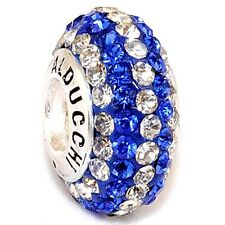 Authentic Alducchi Sapphire Blue-Clear Crystal .925 Silver European Charm Bead