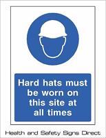 HARD HATS MUST BE WORN PLASTIC RIGID SIGN 150 x 210mm *CHEAP*