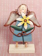 Wood Carved Angelic Religious Angel Metal Wings Hair & Flower Statue Figuring