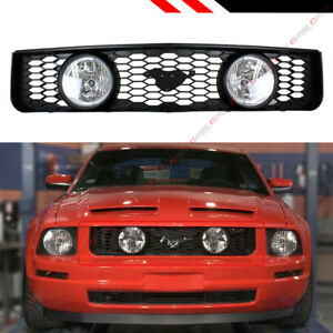 For 05-09 Ford Mustang 4.0L V6 Front Mesh Grill Dual Clear Lens Halo Fog Lights