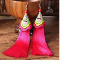 Hot Pink Vintage Bohemian Fringe Boho Long Tassel Hook Drop Dangle Earrings