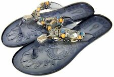 Womens Black Low Heel Jelly Sandals Beaded Flip Flops Holiday Shoes Size 4/37
