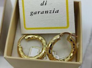 coppia orecchini oro 18 kt 750 giallo , cerchio lavorati
