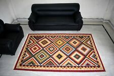 Indian Wool Cotton Geometric Soft Reversible Rug Bedroom 5x8 Feet Area Rug
