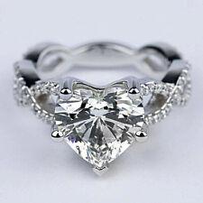 Infinity 2.75 Ct Heart Shape Diamond Engagement Ring 14k White Gold VS2/H