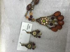Pendant necklace with earrings dark  gold green brown  amber peach