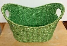 Green Organizer Container Woven Basket with Handles