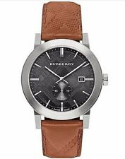 "Burberry Men's ""The City"" Silver Black Chrono Dial Brown Leather Band BU9905"