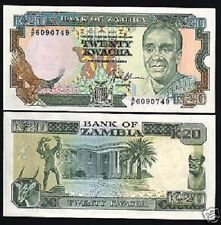 ZAMBIA 20 KWACHA P32 1991 BUNDLE GAZELLE EAGLE UNC 100 PCS CURRENCY MONEY NOTE