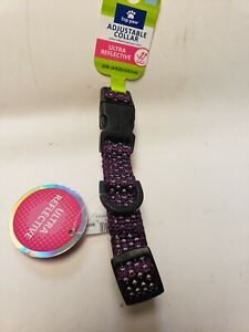 Top Paw Adjustable Collar Ultra Reflective purple. Size small
