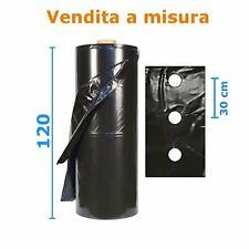 Telo pacciamatura fori centrali 30 cm polietilene preforato nero Largh. 120 cm