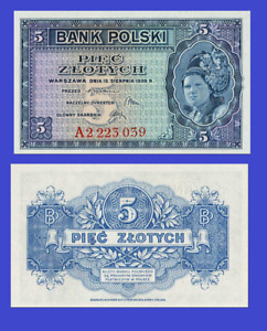 Poland 5 zloty 1939 UNC - Reproduction