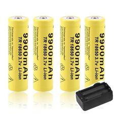 4 X 3.7V 18650 9900mah Li-ion Battery+ US Charger  For LED Flashlight Torch