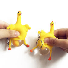 Fun Rubber Chicken Laying Keyring Egg Hens Funny Relief Stress Ball Keychain Toy