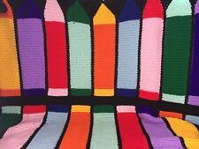 Kid Crayon Blanket Bedroom Decor Crochet Afghan Throw Handmade Black Multi Color