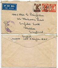 INDIA WW2 RAF CENSOR + STAR CANCELS AIRMAIL