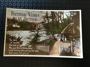 Vintage Postcard - Birthday Wishes To My Brother - River & Cottage 1931 P6
