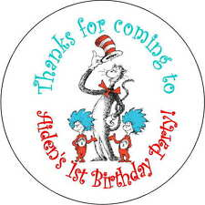 12 cat in the hat stickers Birthday Party 2.5 Inch Personalized dr seuss thing