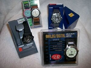Lot of 4 Big Face Men's watches NOS Laurus Aqualite Timex NIB
