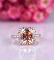 1.91Ct Cushion Cut Morganite Diamond Engagement Ring Bridal 14K Rose Gold Finish