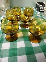 Set Of 6 Amber Gladd Whiskey Snifter