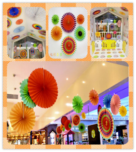 6pcs Paper Fan Flowers Wedding Baby Birthday Party Tissue Decoration