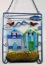Twin Beach Huts in Metal Frame Colourful Hanging Wall Art 55411