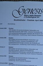 Genesis listino prezzi, 2 pagine, con Tech. dati, Genesis 200 i, 300,apm 1,2,in tedesco