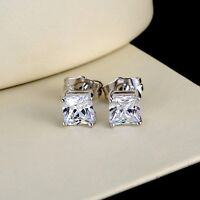 Men's Ear Studs Bling Earrings 18k White Gold Filled 6MM Fashion Jewelry