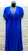 Chaps Womens Size Large Dress Blue V-Neck Stretch Criss Cross Hi Waist