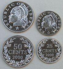 Liberia 25 + 50 Cents 2000 unz.