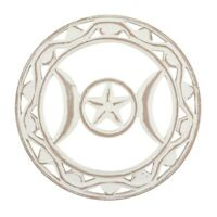 White Wooden Triquetra Wall Art Hanging Rustic Whitewash Finish 30cm Wood Carvin