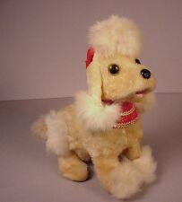 """Vintage 1950's tin toy Poodle mechanical dog 9"""" long Japan  it barks"""