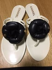 Chanel Women's Jelly Flip Flops - Cream  - With Camellia Flower Size 35