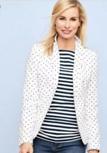 $130 NWT TALBOTS COTTON LINEN LIGHTWEIGHT TOP QUALITY POLKA DOT JACKET SIZE 2