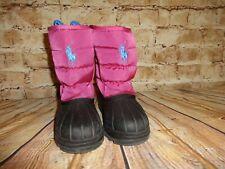 Ralph Lauren Polo Winter Snow Boots Pink Black Girls Size 8