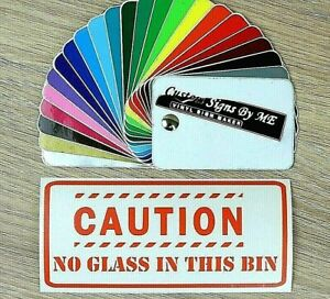 No Glass In This Bin Recycling Bin Sticker Vinyl Decal Adhesive TANGERINE Colour