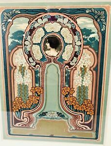 Antique Art Nouveau SOLITUDE Framed Multicolor Stone Lithograph, MST
