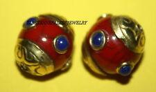 Nepal beads 2 Nepalese Beads Tibet Beads handmade beads Lapis beads coral B102