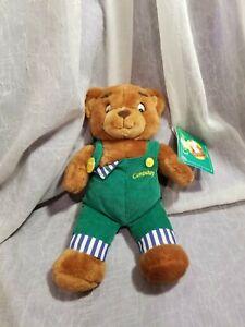 EDEN VIACOM CORDUROY TEDDY BEAR GREEN OVERALLS PLUSH 1996 NWT