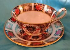 Royal Crown Derby English Bone China Old Imari Pattern Footed Tea Cup & Saucer
