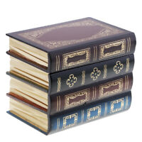 Vintage Book Shape Jewelry Treasure Chest Holder Case Handmade Wood Boxes S
