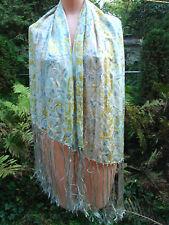"Vintage Silk Scarf Wrap Pastel 10"" long rayon Fringe 19x51 Large Shawl Abstract"