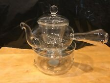 Glass Teapot Single Serving with Glass Infuser and Tealight Candle Warmer