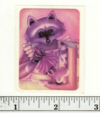 Small Vintage Acard Stickermania Adorable Raccoons Glossy Sticker