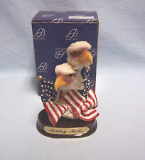 "Ashley Belle Collectible Eagle Head American Flag Figurine  Resin 4"" Tall"