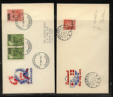 Denmark   2 cachet  covers  overprinted stamps              MS0227